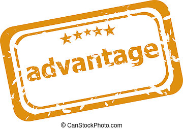 rubber stamp with advantage word isolated on white