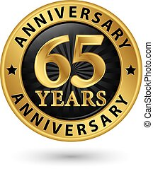 65 years anniversary gold label, vector illustration