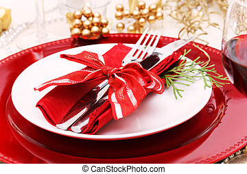 Holiday Dinner Plate Setting - Red and gold themed holiday...