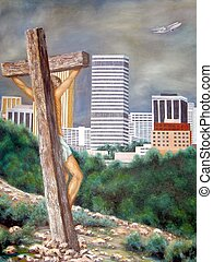 Painting of Jesus on Cross - vertical - An original oil...