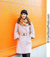 Outdoor fashion portrait pretty stylish woman in coat...
