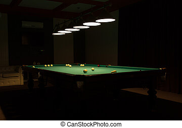 Pool Table in Dimly Lit Pool Hall - Billiard Balls Scattered...