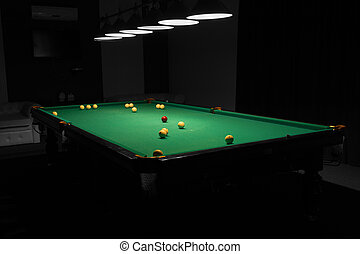 Pool Table in Empty Dimly Lit Pool Hall - Billiard Balls...