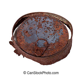 Old rusty tin can isolated on white background Top view