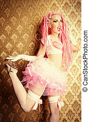 fanciful girl - Lovely fanciful girl wearing pink clothes...