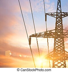Electrical pylon. - Electrical pylon and wires over sunset...