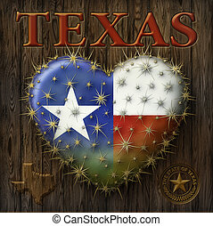 I Love Texas - Digital Painting of a heart shaped prickly...