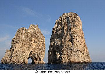 Faraglioni - Sea level view of the Faraglioni in Capri,...