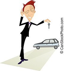 Car salesperson - Cartoon auto dealer offers a key from the...