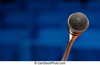 Microphone in conference hall - Close up of a microphone in...