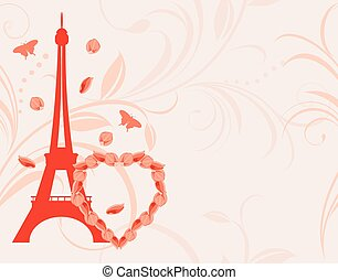 Background with heart and Eiffel