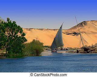 Nile River Bank with Boat - The Nile River Bank with a...