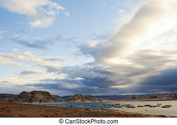 Boats on Lake Mead in the Morning