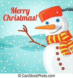Merry Christmas greeting card with cute snowman and place for your text. Vector