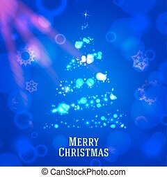 Merry christmas tree made from shining bokeh, on blue night background with snowflakes. vector