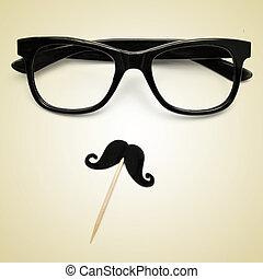 lentes, efecto, tipo,  hipster,  Retro, bigote