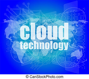 words cloud technology on digital screen, information...