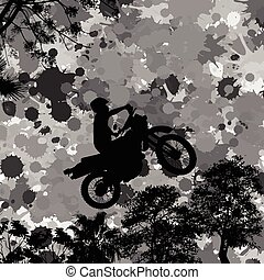 Jumping motorcycle rider silhouette on splash grunge...