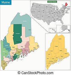 Maine map - Map of Maine state designed in illustration with...