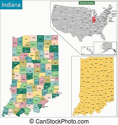 Indiana map - Map of Indiana state designed in illustration...