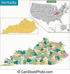 Kentucky map - Map of Commonwealth of Kentucky designed in...