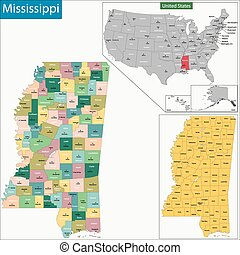Mississippi map - Map of Mississippi state designed in...