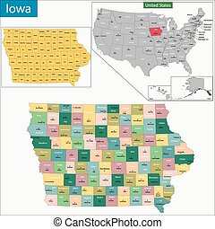 Iowa map - Map of Iowa state designed in illustration with...