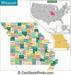 Missouri map - Map of Missouri state designed in...