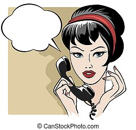 The girl speaking by phone with empty speech bubble -...