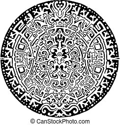 Mandala labyrinth abstract ornament Find the way Isolated on...