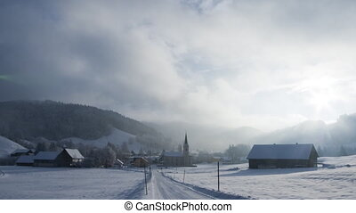 Winter postcard: village scene timelapse - A moving winter...