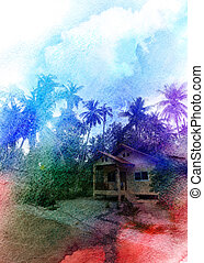 retro watercolor landscape with palm trees