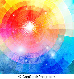 Abstract colorful background with sun - watercolor bright...