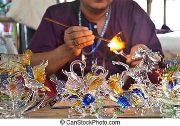 Scientific Glass blowing and working thai style in thailand