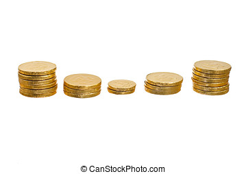 Stack of coins - Stack of gold coins arranged as a bar chart...