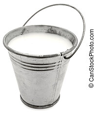 metal bucket with milk against the white background
