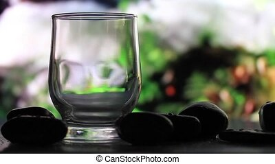 Glass of water on a background