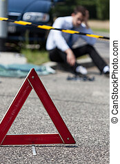 Car accident premises - Closeup of area of a car accident...