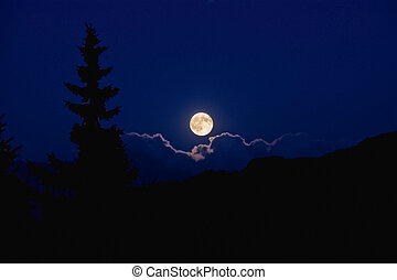 Moonlight - A rising full moon which shines on the clouds...