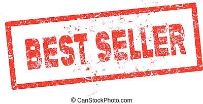 red Best seller rubber stamp vector illustration
