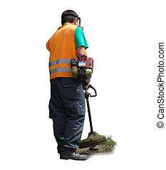 Man working with string trimmer lawn mower machine