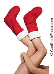 Christmas Legs and Stockings - Woman with red christmas...