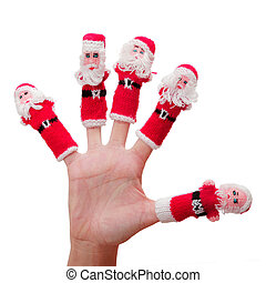 Christmas Hand - Isolated hand with little Santa Puppets on...