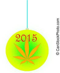 An isolated christmas ball ornament with a marijuana leaf...
