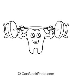 outline of Cartoon Tooth Character