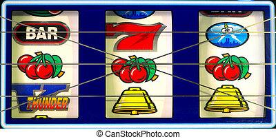 Slot Machine. - Slot machine with winning cherry jackpot.
