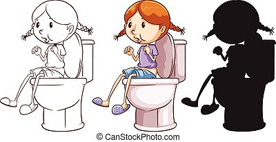 A girl above the toilet bowl in three different colours on a...