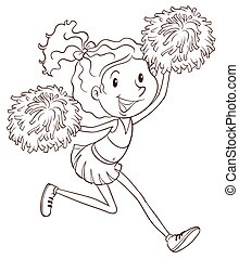 A cheerleader - A plain drawing of a cheerleader on a white...