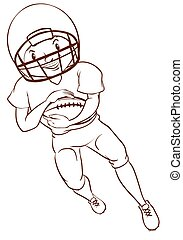An American football player - A plain sketch of an American...