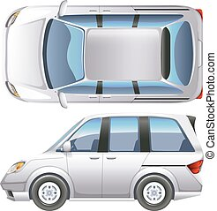 A minivan - A topview of a minivan on a white background